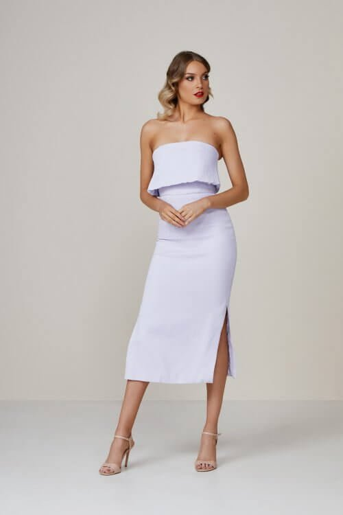 C/meo Love Like This Dress Knee Length, Midi, Strapless Lilac