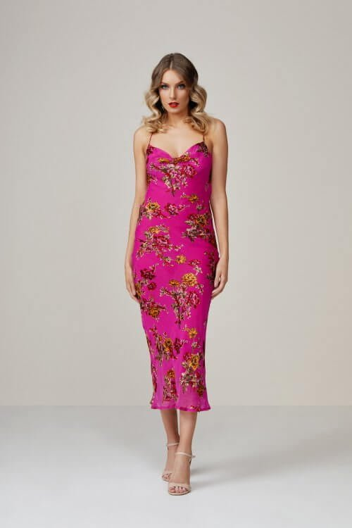 Rat & Boa Kiki Dress Knee Length, Midi Pink
