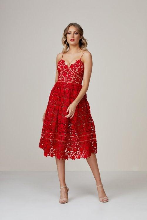 Self Portrait Lace Dress Knee Length, Midi, V-Neck Red