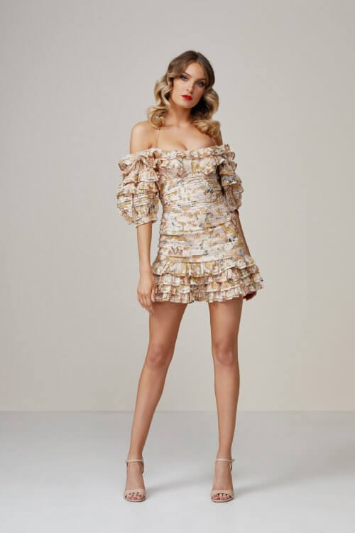 Zimmermann Painted Hearts Fold Dress Mini, Off-Shoulder Print