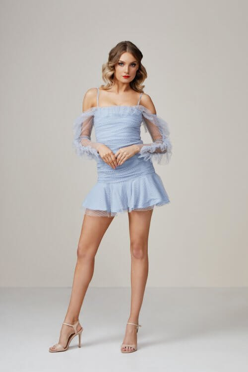 Alice McCall All Things Nice Mini Mini, Off-Shoulder Blue