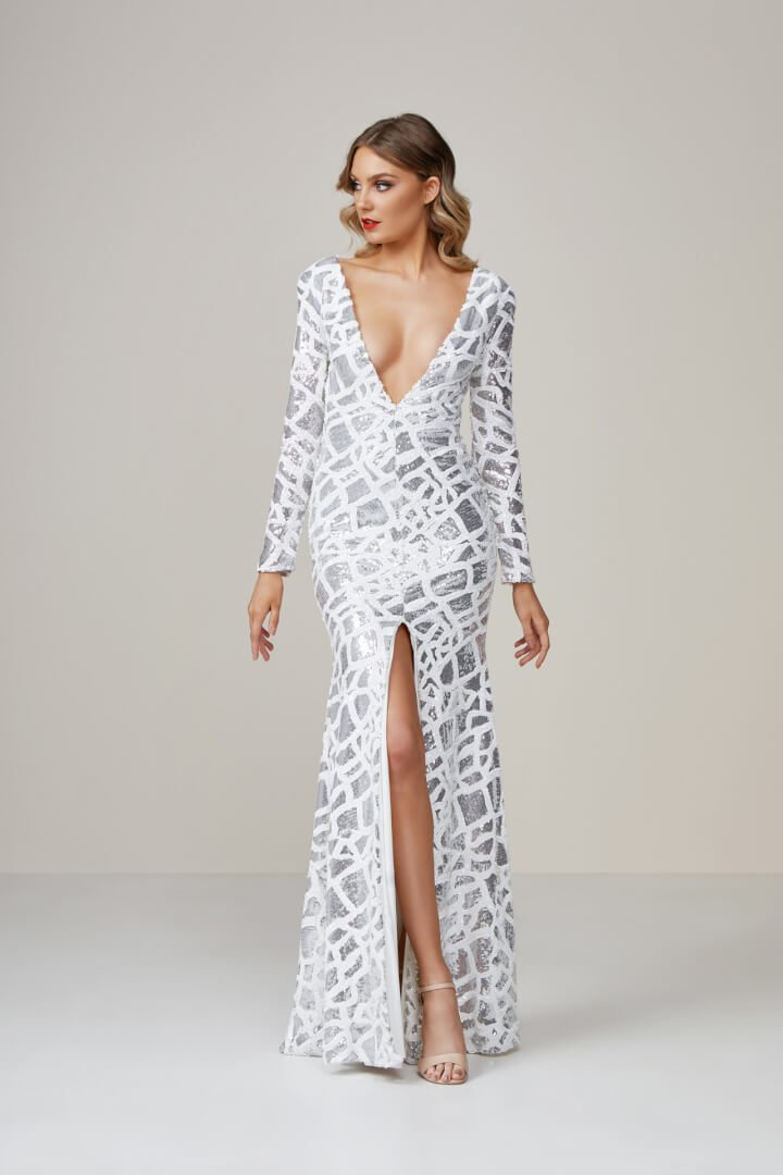 Ae'lkemi Deco Plunge Gown Silver Floor Length, Long-Sleeve, V-Neck Silver