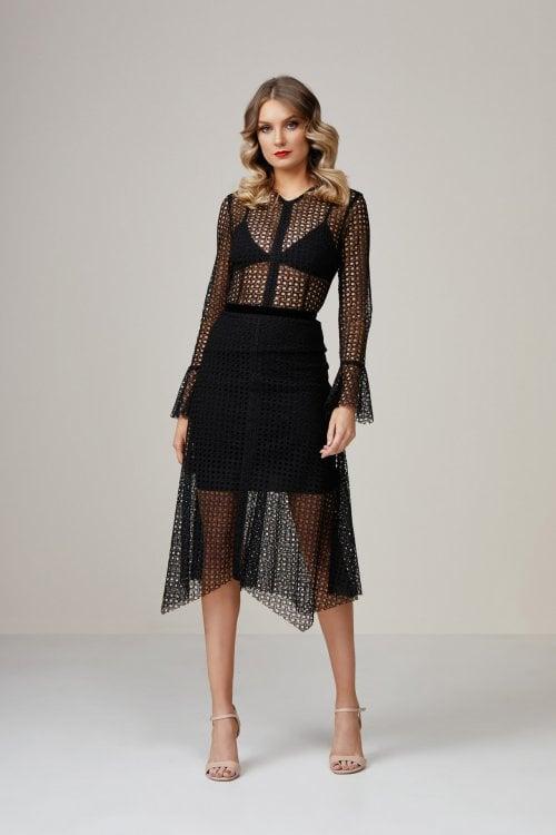 Bec & Bridge Lattice Long Sleeve Dress Knee Length, Long-Sleeve, Midi Black