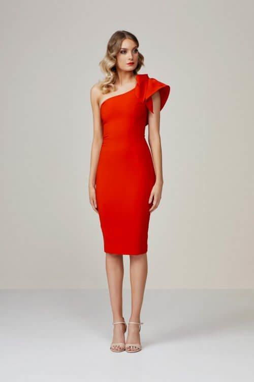 Bianca & Bridgett Karen Dress Knee Length, Midi, Off-Shoulder Red