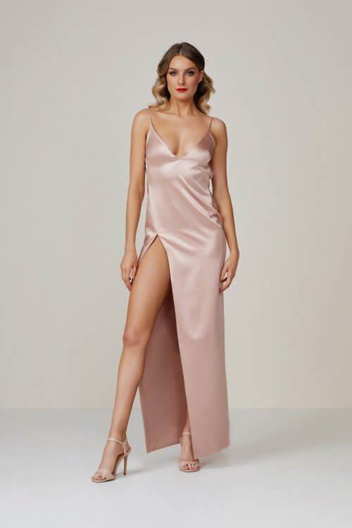 Lexi Akasa Dress Backless, Floor Length, Maxi, V-Neck Blush