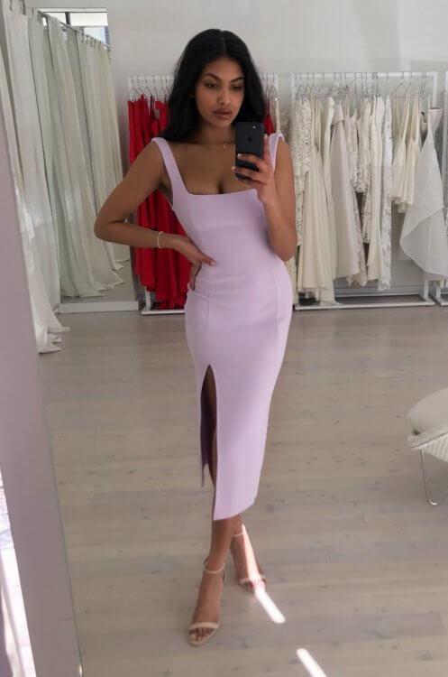 Bec & Bridge Hibiscus Island Midi Dress Knee Length, Midi Lilac