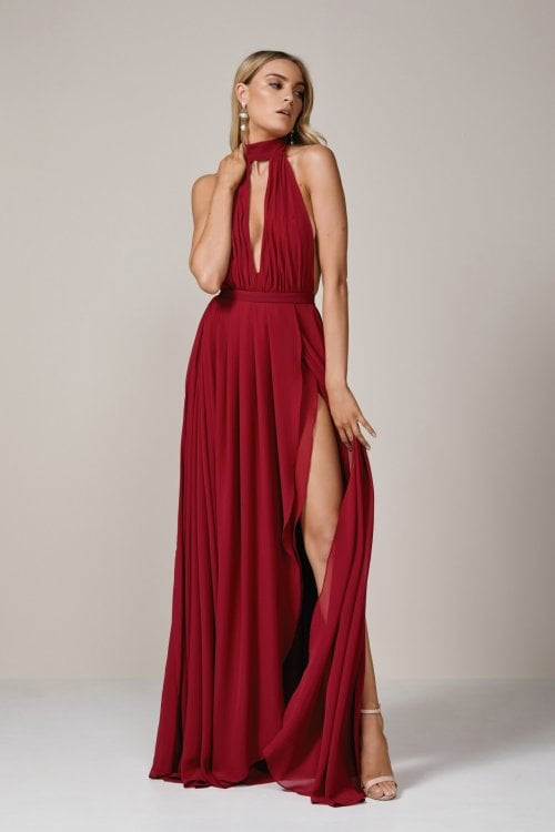 D'Lelle Tiki Gown Backless, Floor Length, Maxi Ruby