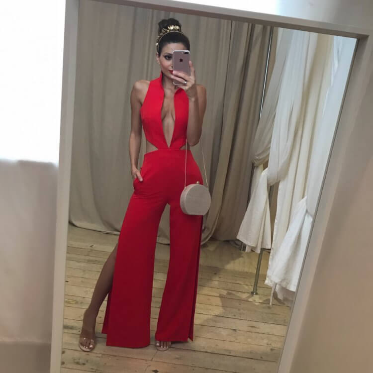 Stephanie Chehade Thunder Jumpsuit Backless, Jumpsuit, V-Neck Red