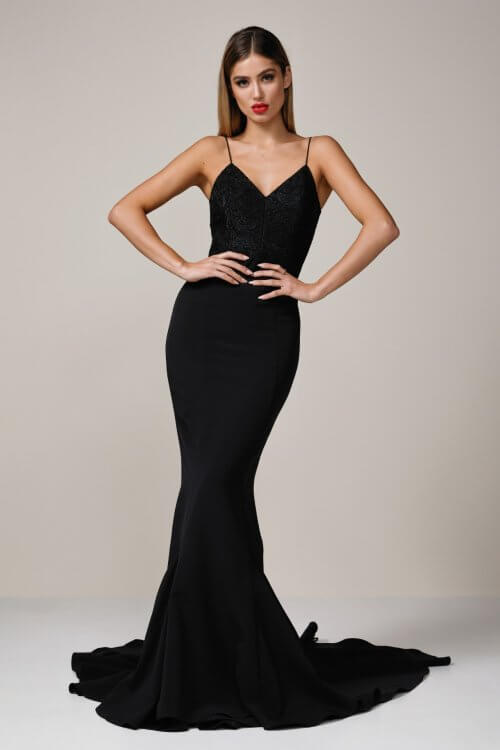 Elle Zeitoune Becca Gown Floor Length, V-Neck Black