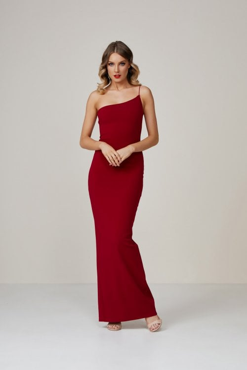 Nookie Penelope Gown Floor Length, Off-Shoulder Ruby