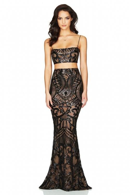 Nookie Mon Cherie Sequin Top & Skirt Floor Length, Maxi, Two-piece Set Black