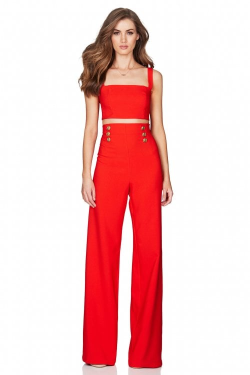 Nookie Milano Crop & Pants Two-piece Set Orange