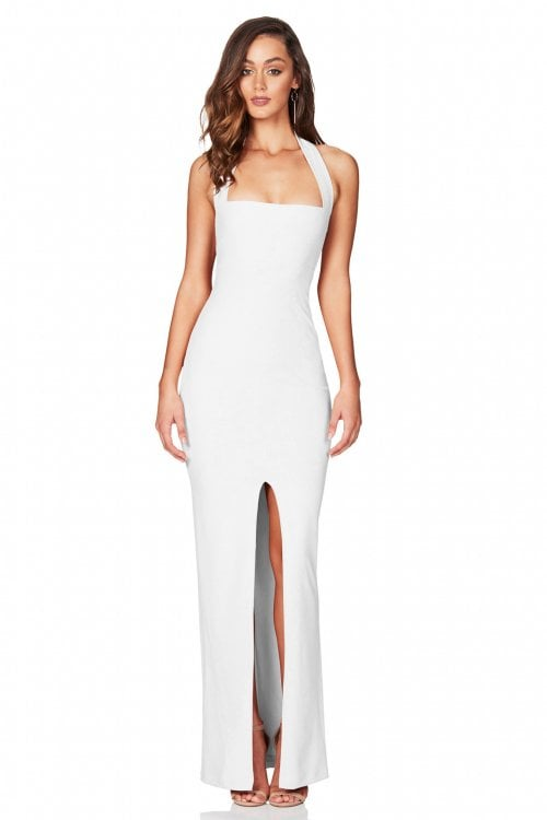 Nookie Boulevard Halter Gown Floor Length, Maxi White