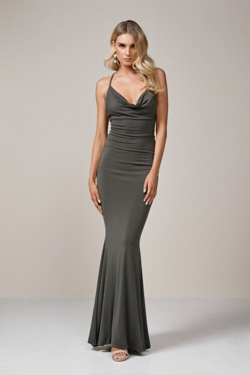 Nookie Hustle Gown Backless, Floor Length, Maxi Khaki