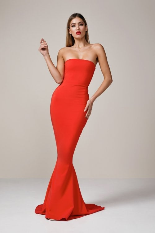 Nookie Angelina Gown Floor Length, Maxi, Strapless Red