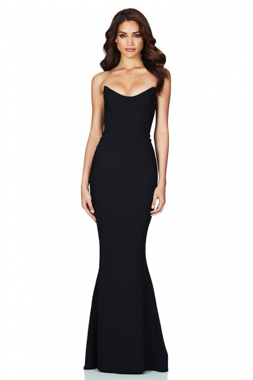 Nookie Diamond Gown Floor Length, Maxi, Strapless Black