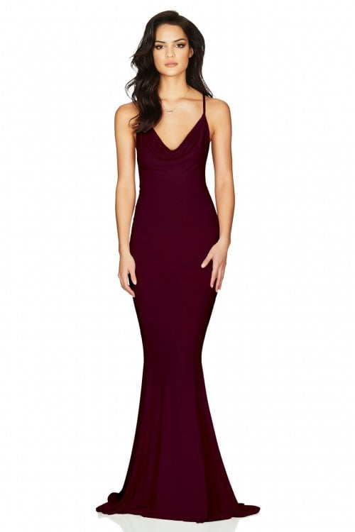 Nookie Hustle Gown Backless, Floor Length, Maxi Wine