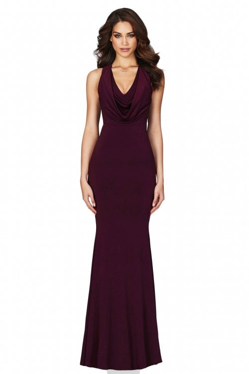 Nookie Entice Gown Floor Length, Maxi, V-Neck Wine