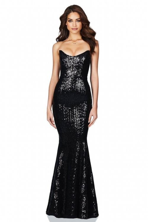 Nookie Shine Gown Floor Length, Maxi, Strapless Black