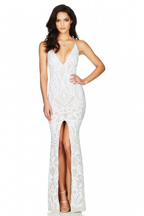 Nookie Mon Cherie Gown Backless, Floor Length, Maxi White