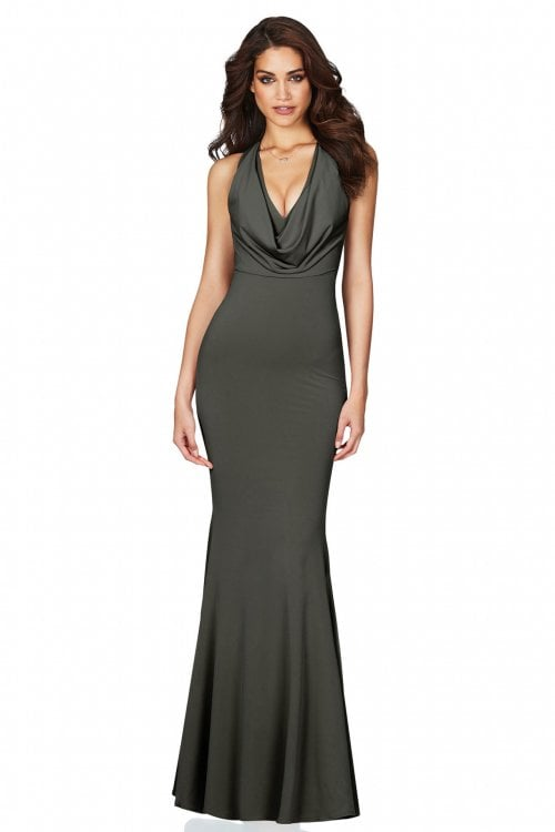Nookie Entice Gown Floor Length, Maxi, V-Neck Khaki