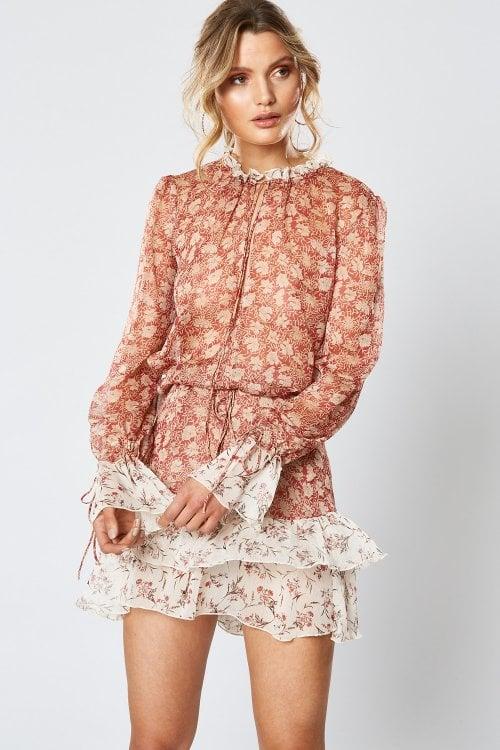 Winona Portobello Long Sleeve Dress Long-Sleeve, Mini Print