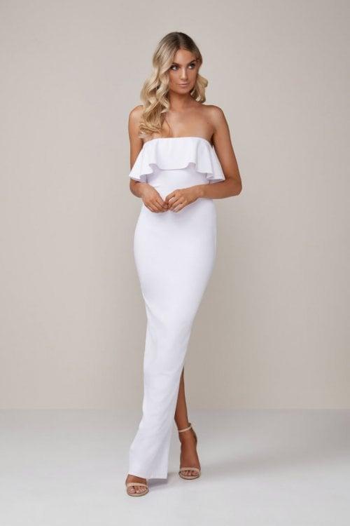 Nookie Hermosa Gown Floor Length, Maxi, Strapless White