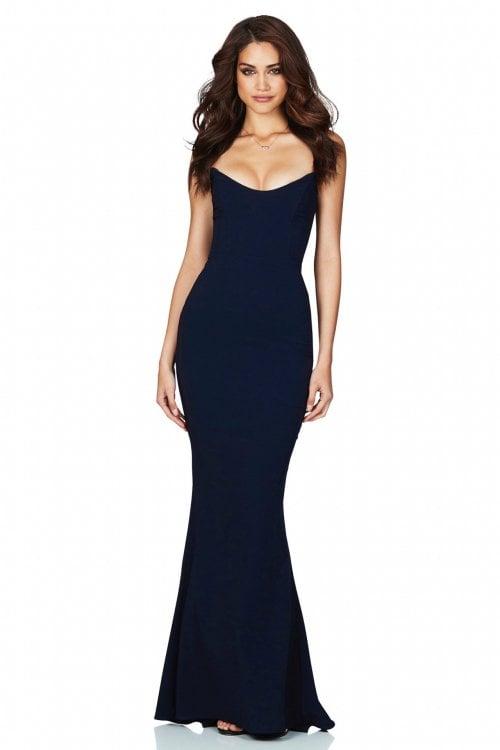 Nookie Diamond Gown Floor Length, Maxi, Strapless Navy