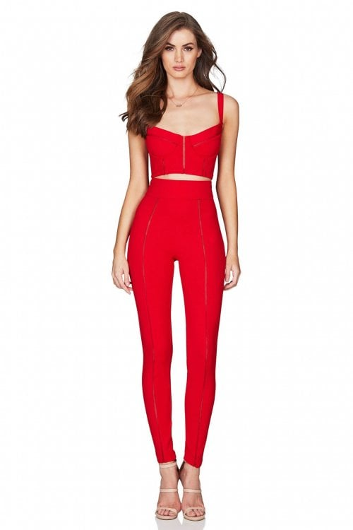 Nookie Chicago Crop And Pants Set Two-piece Set Red