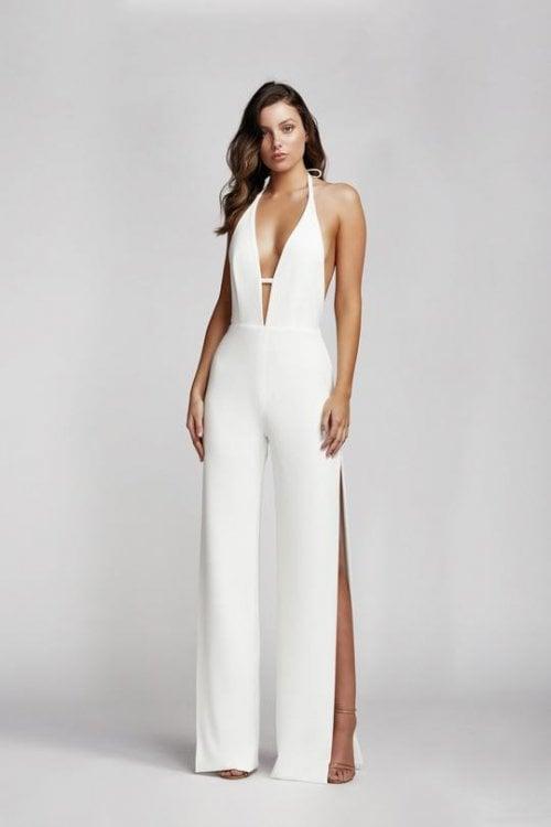 Lexi Reyna Jumpsuit Backless, Floor Length, Jumpsuit, Maxi, V-Neck White