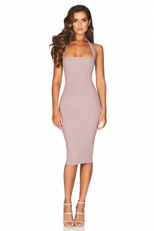 Nookie Boulevard Halter Midi Backless, Knee Length, Midi Dusty Pink