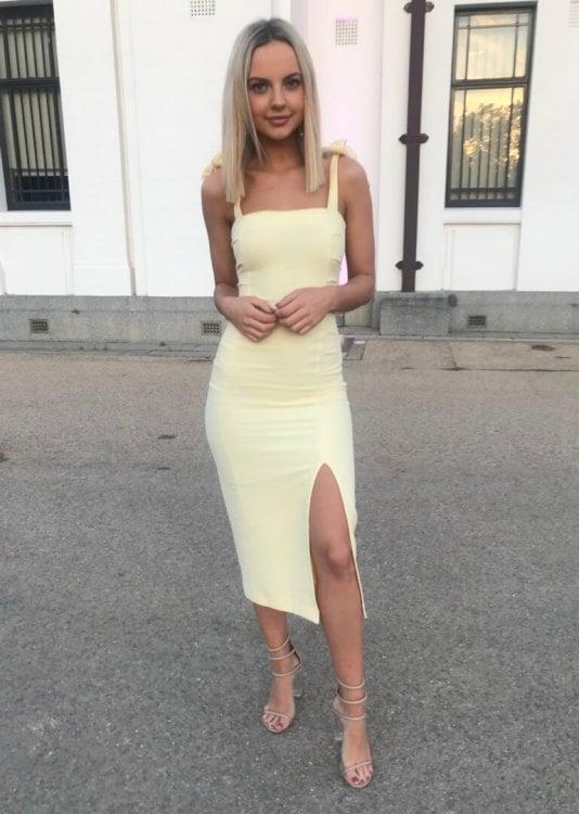 Bec & Bridge Bonita Tie Dress Knee Length, Midi Yellow