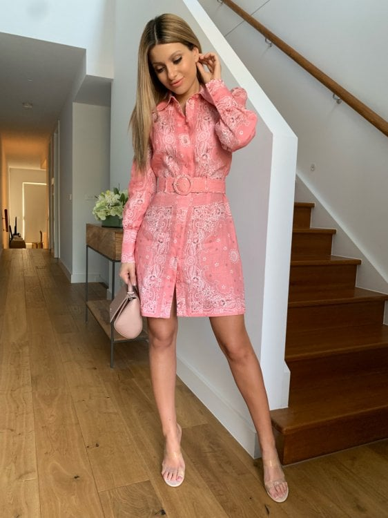 Zimmermann Heathers Bandana Shirt Dress Long-Sleeve, Mini Pink