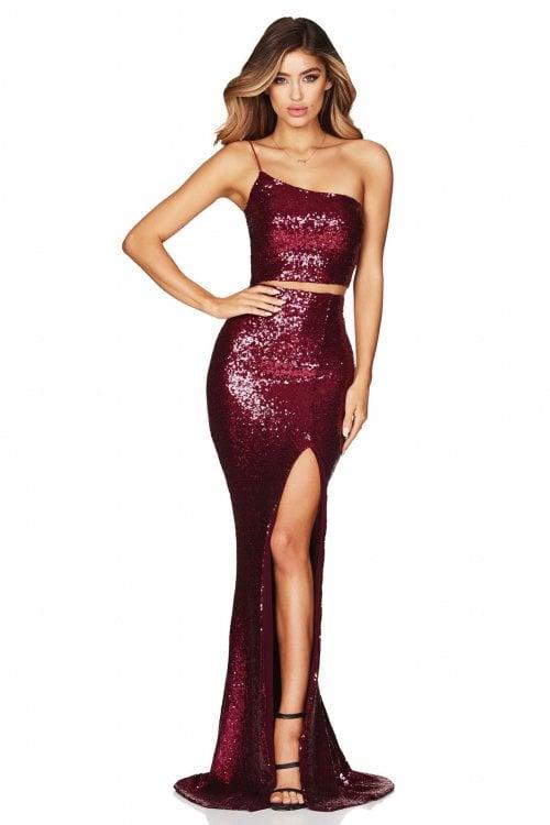 Nookie Siren Sequin Crop And Skirt Floor Length, Maxi, Two-piece Set Ruby