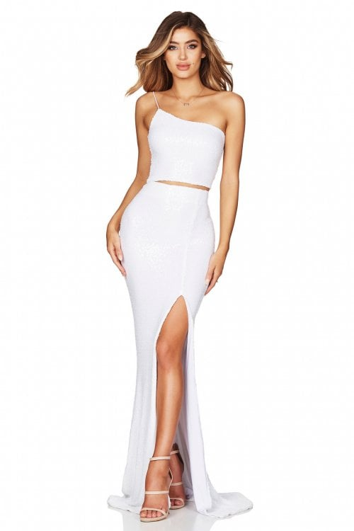 Nookie Siren Sequin Crop And Skirt Floor Length, Maxi, Two-piece Set White