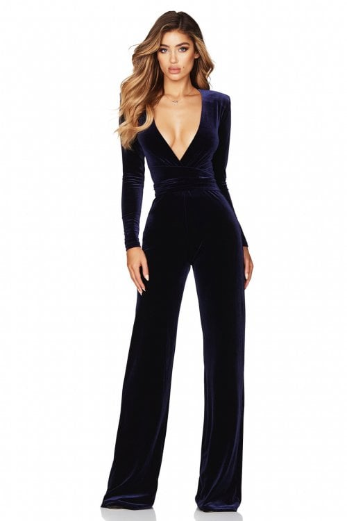 Nookie Vamp Velvet Jumpsuit Jumpsuit, Long-Sleeve, V-Neck Navy