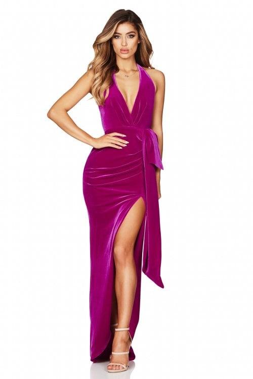 Nookie Vixen Velvet Gown Backless, Floor Length, Maxi, V-Neck Pink