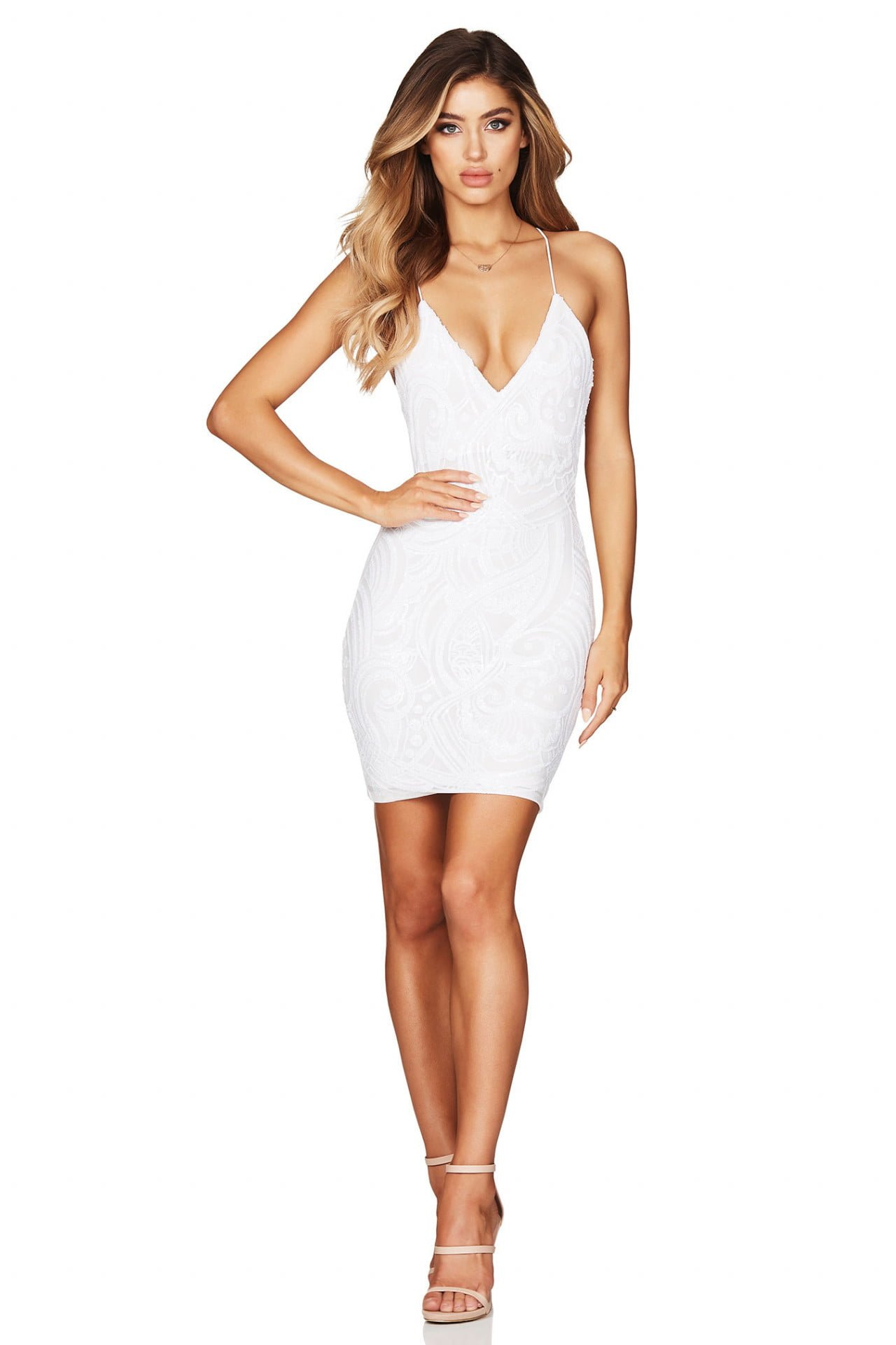 Nookie Sensation Mini Backless, Mini, V-Neck White