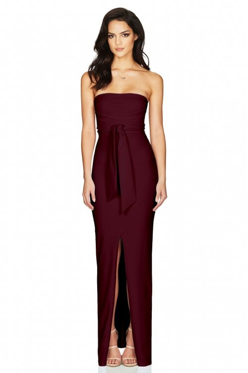 Nookie Royal Gown Floor Length, Maxi, Strapless Wine