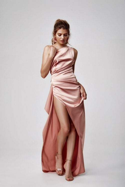 Lexi Samira Gown Backless, Floor Length, Maxi, Off-Shoulder Pink