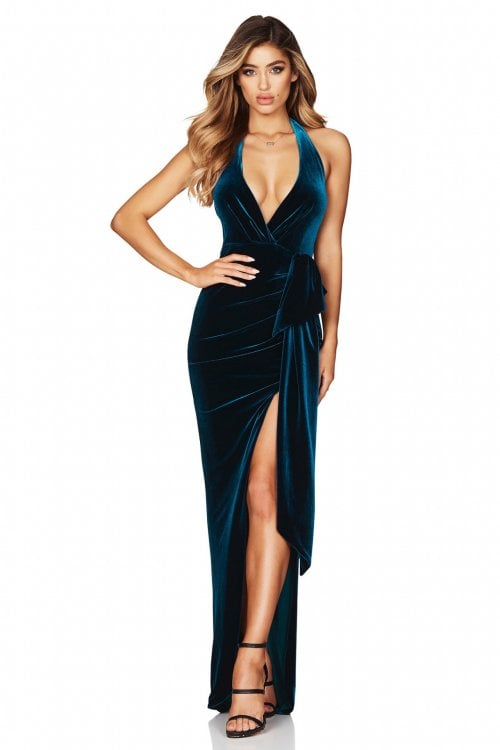 Nookie Vixen Velvet Gown Backless, Floor Length, Maxi, V-Neck Teal