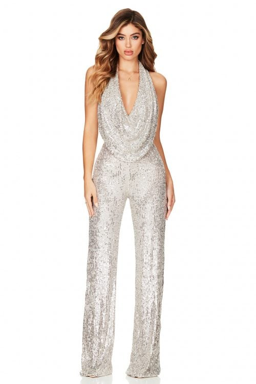 Nookie Fantasy Jumpsuit Backless, Floor Length, Jumpsuit, Maxi Silver