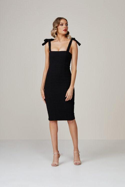Winona Lychee Dress Knee Length, Midi Black