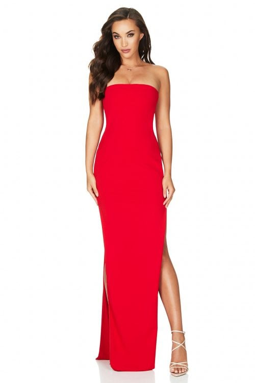Nookie Flaunt Gown Floor Length, Maxi, Strapless Red