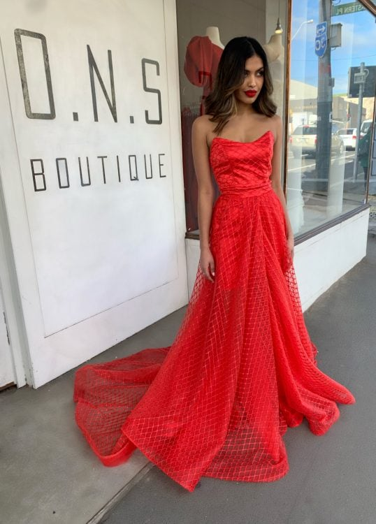 D'Lelle Diamond Lace Gown Floor Length, Maxi, Strapless Red