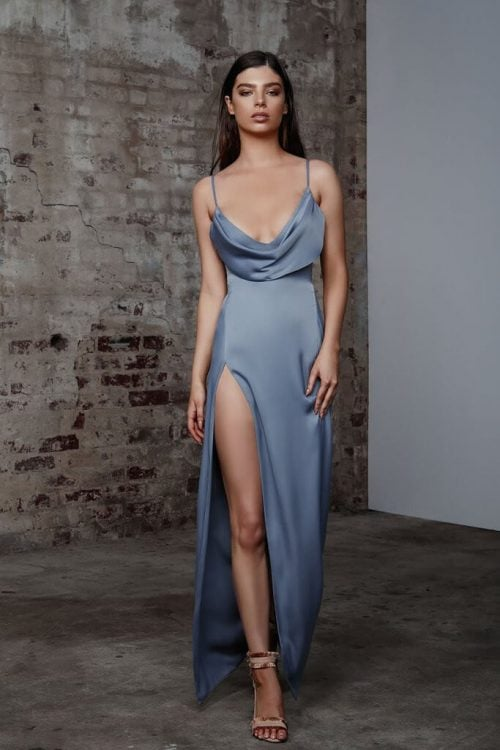 Lexi Mila Gown Backless, Floor Length, Maxi, V-Neck Blue