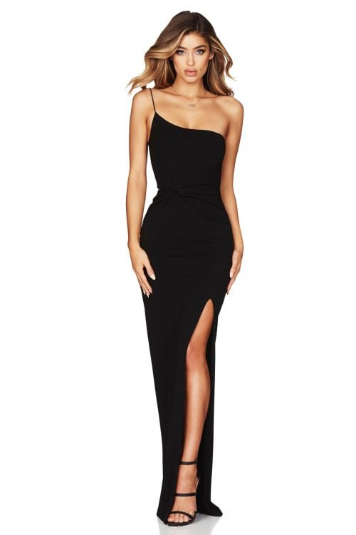 Nookie Lust One Shoulder Gown Floor Length, Off-Shoulder Black