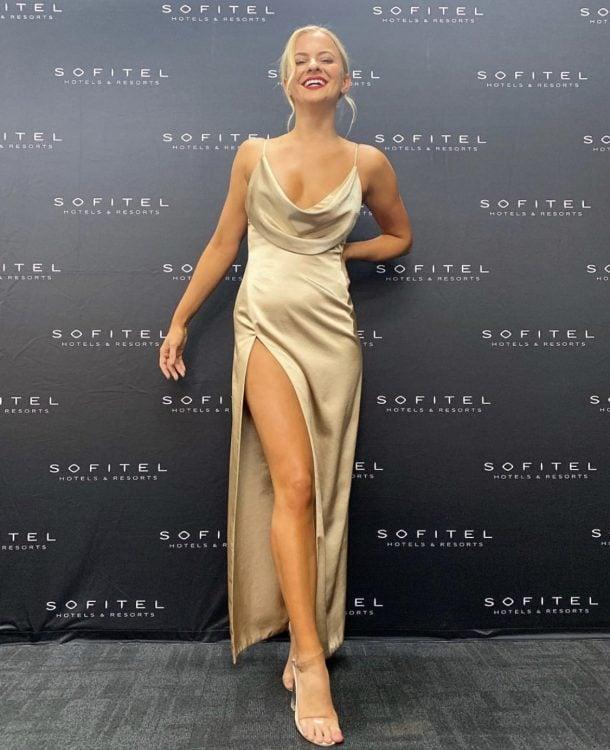 Lexi Mila Gown Backless, Floor Length, Maxi, V-Neck Gold