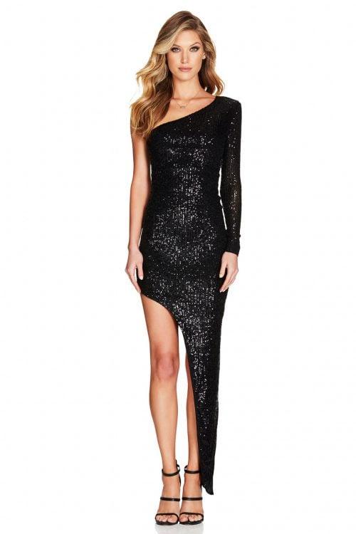 Nookie Fortune One Shoulder Gown Floor Length, Long-Sleeve, Maxi, Off-Shoulder Black