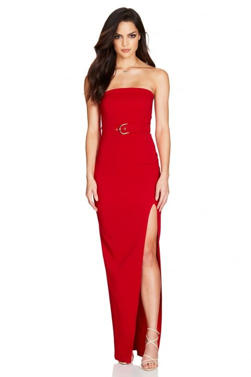 Nookie Impulse Gown Floor Length, Maxi, Strapless Red